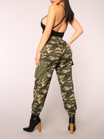New Army Green Patchwork Camouflage Pockets Drawstring High Waist Fatigue Cargo Pants