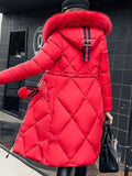 Red Patchwork Fur Pockets Zipper Pompom Hooded Long Sleeve Casual Coat