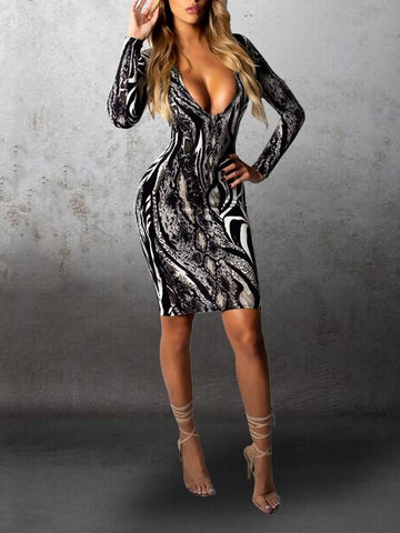 New Black Snake Print Bodycon Long Sleeve Deep V-neck Party Mini Dress
