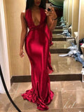 Onlinechoic Red Cut Out Belt Bodycon Mermaid V-neck New Year's Eve Prom Evening Party Maxi Dress