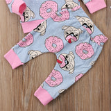 3520361841dd6 Newbabychic 3pcs Girl Clothing Sweet Newborn Baby Outfit Clothes Pugs  Donuts Lemon Tops Leggings Pant Headband Set