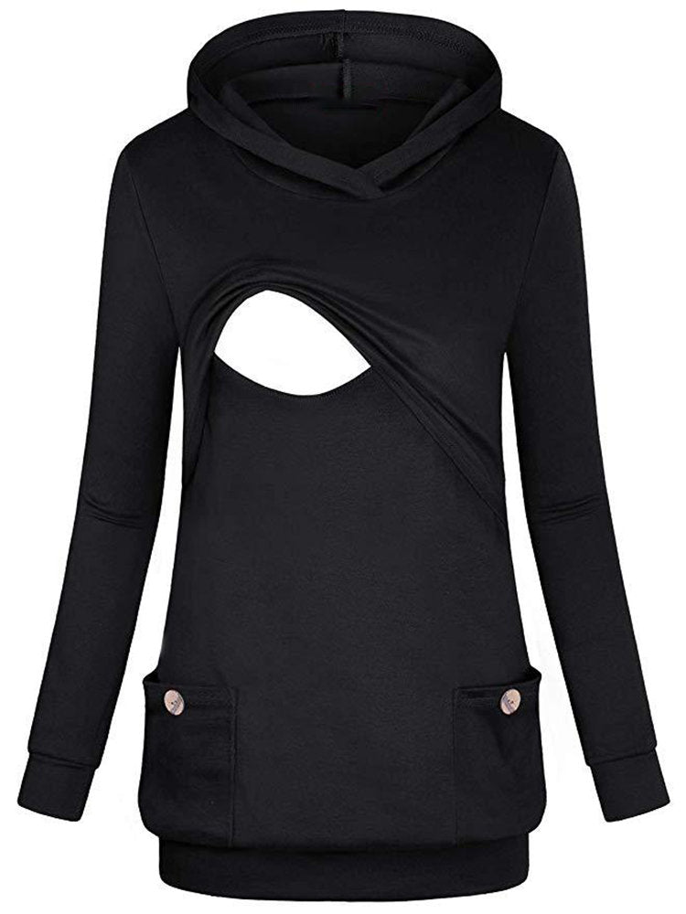 Newbabychic Casual Hooded Maternity Long Sleeve Pockets Nursing Tops