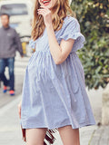 Newbabychic Striped Cotton Maternity Dresses O Neck Ruffles High Waist Charming Clothes for Pregnant Women