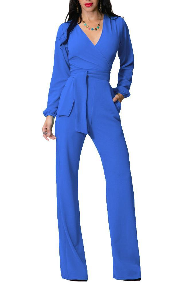 Candy Color Deep V-neck Straps Belt Long Wide Leg Jumpsuit