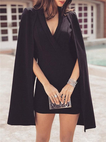 New Black Patchwork Cut Out Dolman Sleeve Fashion Mini Dress