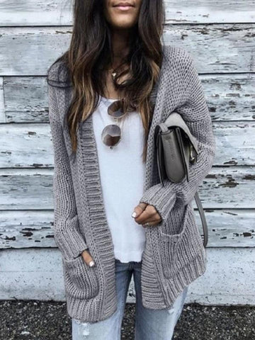 New Grey Plain Pockets Long Sleeve Going out Casual Cardigan Sweater