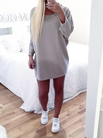 Grey Round Neck Long Sleeve Casual Mini Dress