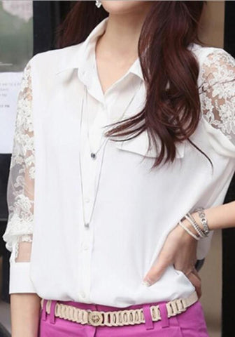 White Lace Single Breasted Turndown Collar Office Worker/Daily Going out Blouse