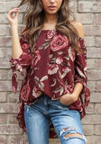 Burgundy Flowers Pattern Bowknot Off Shoulder Backless Oversize Bohemian Blouse