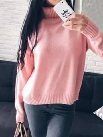 Pink High Neck Long Sleeve Oversize Casual Pullover Sweater
