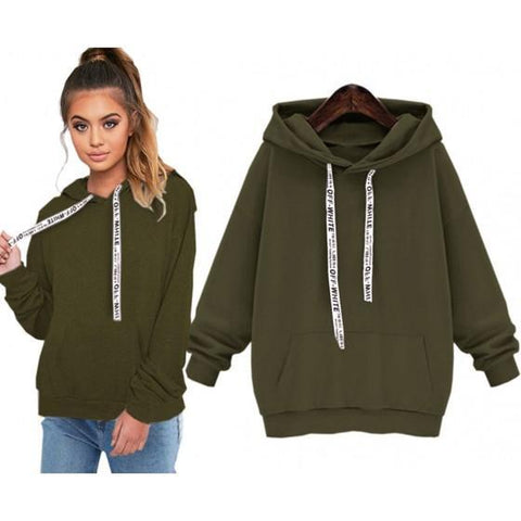 Army Green Drawstring Hooded Long Sleeve Casual Pullover Sweatshirt