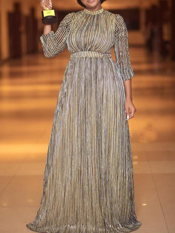 New Golden Pleated Long Sleeve Elegant Party Maxi Dress