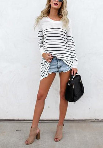 White-Black Striped Print Asymmetric Shoulder Round Neck Long Sleeve Casual T-Shirt