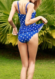 Sapphire Blue Polka Dot 2-in-1 Draped Falbala Spaghetti Strap Swimwear