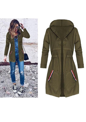 Army Green Plain Drawstring Pockets Hooded Casual Coat