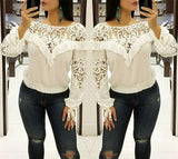 White Patchwork Lace Peplum Round Neck Long Sleeve T-Shirt