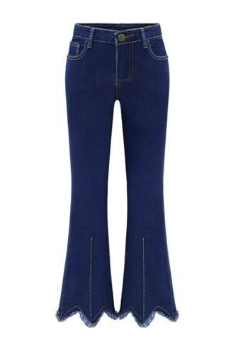 Blue Pockets Buttons Plus Size High Waisted Mom Boyfriend Flare Bell Bottom Long Jeans