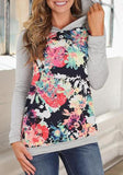 Grey Patchwork Print Long Sleeve Hooded Pullover Sweatshirt