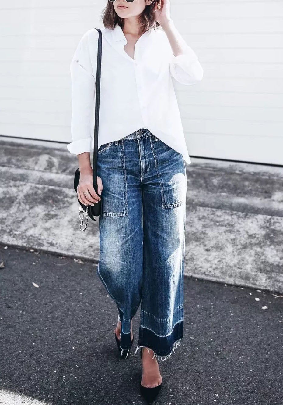 Blue Buttons Pockets Destroyed High Waisted Mom Boyfriend Casual Wide Leg Long Jeans