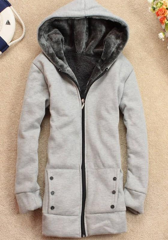Grey Patchwork Pockets Hooded Long Sleeve Casual Sweatshirt Coat