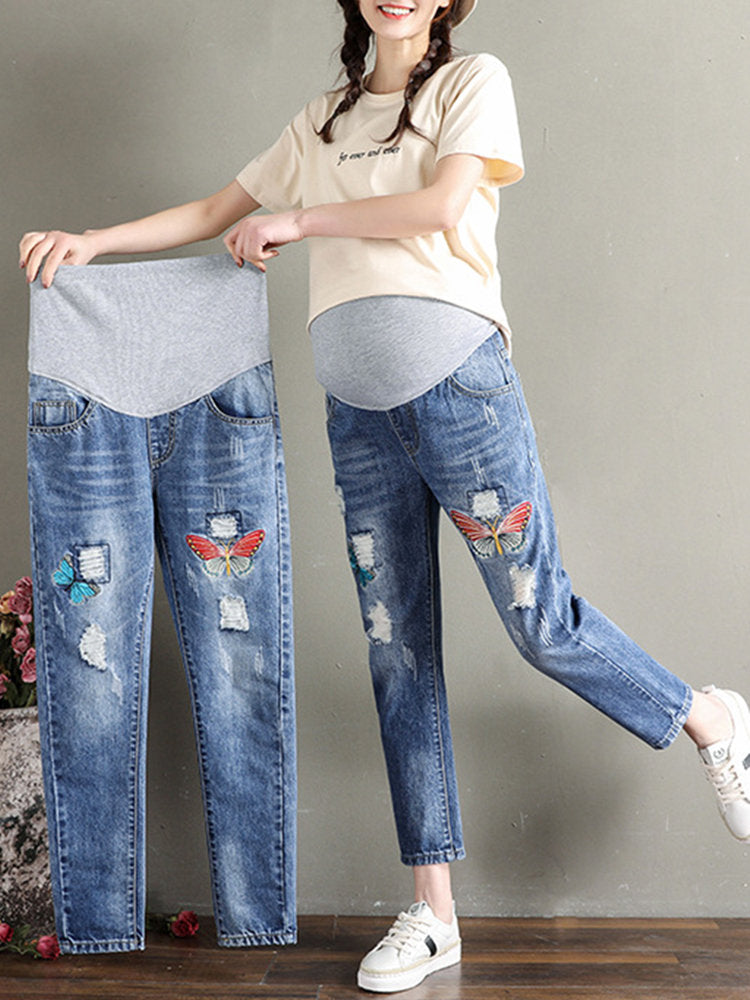Newbabychic Butterfly Embroidery Maternity High Waist Denim Pants