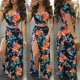 Dark Blue Flowers Print Irregular Tie Back Side Slit Vintage Maxi Dress
