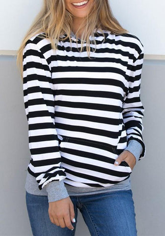 White-Black Striped Pockets Long Sleeve Casual Hooded Sweatshirt