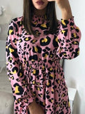 Onlinechoic Pink Leopard Print Band Collar Fashion Chiffon Mini Dress