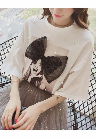 White Floral Print Bow Pearl Round Neck Short Sleeve T-Shirt