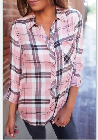 Pink Plaid Buttons Turndown Collar Casual Blouse