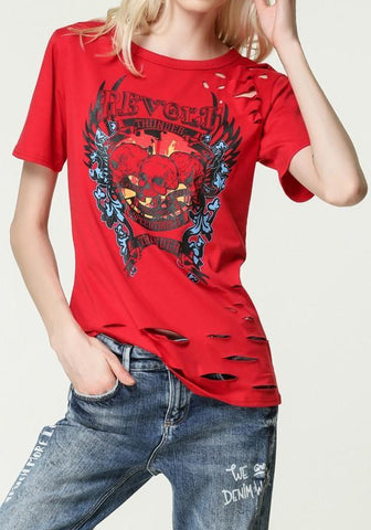 Red Skull Cut Out Round Neck Short Sleeve Casual T-Shirt