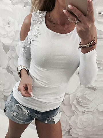 New White Cut Out Lace Round Neck Fashion T-Shirt