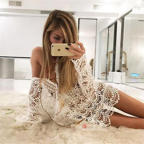 White Lace Cut Out Wavy Edge Lace-up Long Sleeve Bohemian Blouse