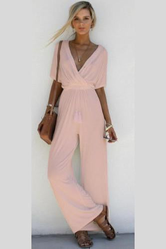 Pure Color V-neck Half Sleeves Loose Long Jumpsuit