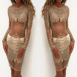 Golden Floral Sequin Grenadine Long Sleeve Boydcon Club Pencil Mini Dress