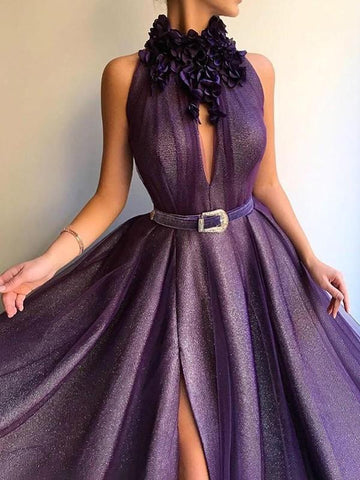 New Purple Grenadine Cut Out Slit 3D Flower Collar Cut Out Big Swing Elegant Floor Length Maxi Dress
