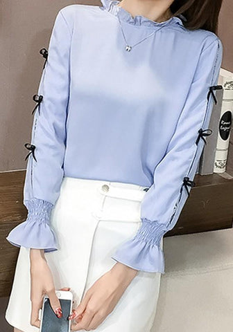 Blue Bow Flare Sleeve Sweet Office Worker/Daily Blouse