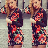 Multicolor Floral Zipper V-neck Long Sleeve Fashion Coat
