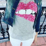 Grey Cartoon Pattern Round Neck Fashion Cotton T-Shirt