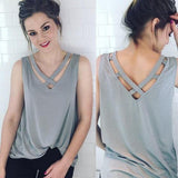 Grey Backless Cut Out Cross Back V-neck Oversize Casual T-Shirt