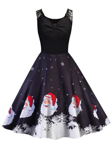 New Black Patchwork Christmas Print Lace Pleated V-neck Sleeveless Midi Dress