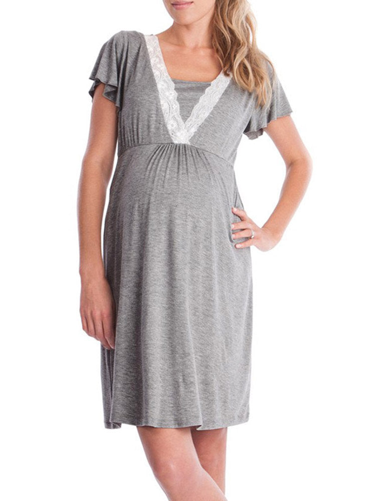 Newbabychic Long Maternity Nursing Dress for Pregnant Women Pregnancy Women's Dress Clothing Mother Home Clothes