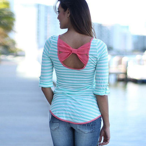 Sky Blue Striped Print Bow Backless Casual Going out T-Shirt