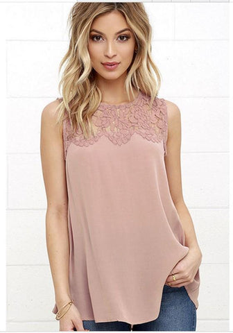 Pink Patchwork Lace Round Neck Casual Polyester Vest