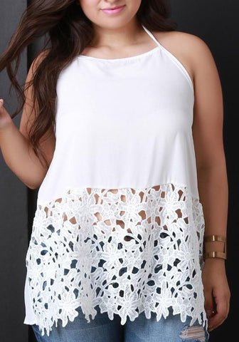 White Lace Cut Out Halter Neck Backless Lace-up Plus Size Casual Blouse
