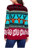 Red Christmas Reindeer Print Uglily Long Sleeve Round Neck Sweater Pullover