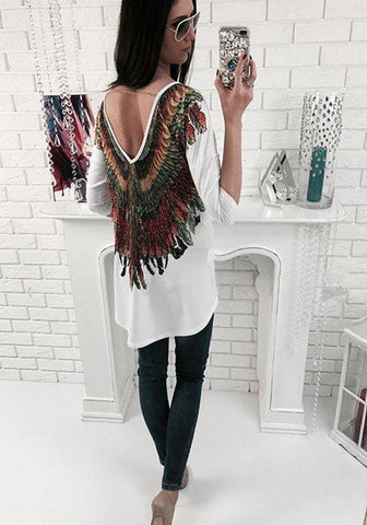 White Floral Chain Round Neck 3/4 Sleeve Vintage Blouse
