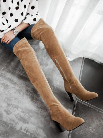 New Yellow Round Toe Chunky Fashion Over-The-Knee Boots