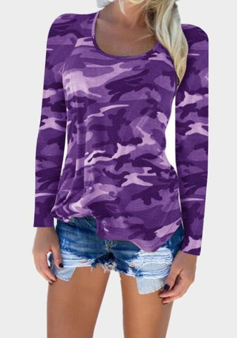 Purple Camouflage Round Neck Long Sleeve T-Shirt