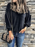 New Black Round Neck Long Sleeve Oversize Casual T-Shirt